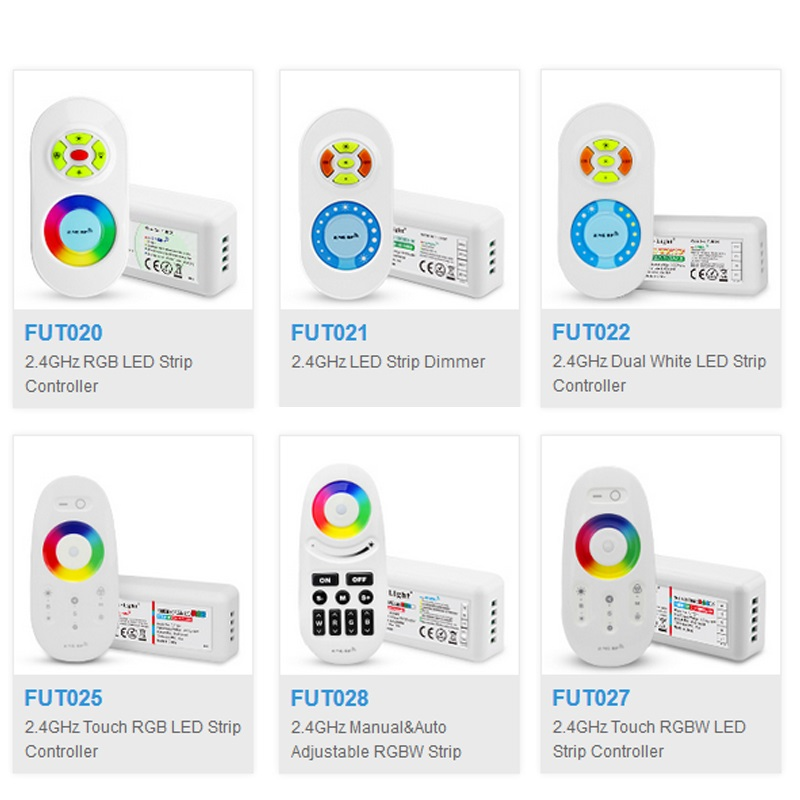 Mi.Light 2.4G FUT020/FUT021/FUT022/FUT025/FUT027/FUT028 LED Strip Dimmer Touch Dual White/RGB/RGBW LED Strip Controller